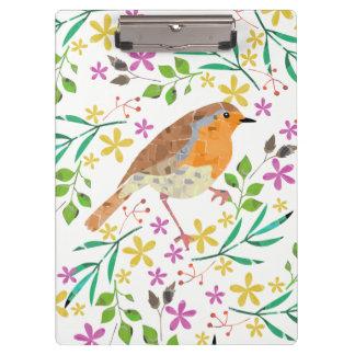 Primavera floral y pájaro del petirrojo carpeta de pinza