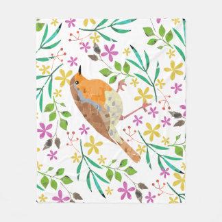 Primavera floral y pájaro del petirrojo manta polar