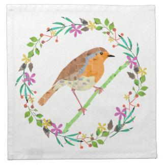 Primavera floral y pájaro del petirrojo servilleta de papel