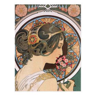 Primavera por Mucha - arte floral Nouveau del Postal
