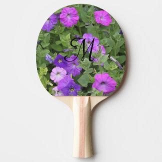 Primavera púrpura femenina de las flores de las pala de ping pong