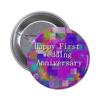 Primer aniversario de boda feliz chapa redonda de 5 cm