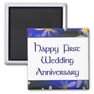 Primer aniversario de boda feliz imán cuadrado