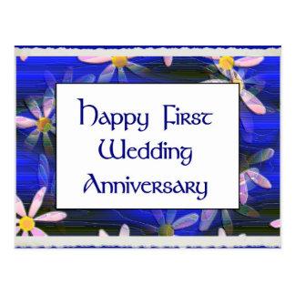 Primer aniversario de boda feliz postal