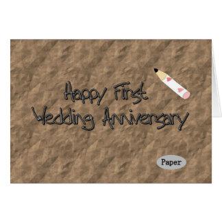Primer aniversario de boda feliz tarjeta de felicitación