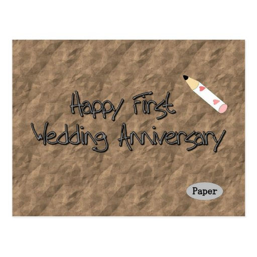 Primer aniversario de boda feliz tarjeta postal