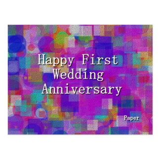 Primer aniversario de boda feliz postales