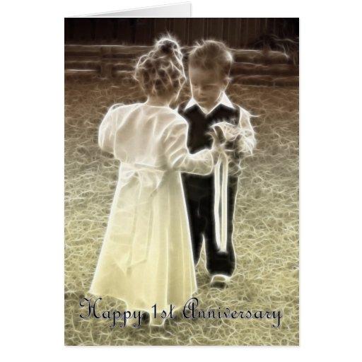 Primer aniversario feliz del aniversario de boda tarjeton