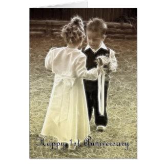 Primer aniversario feliz del aniversario de boda tarjeta de felicitación