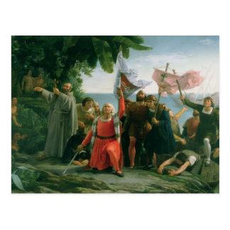 Primer aterrizaje de Cristóbal Colón adentro Tarjetas Postales