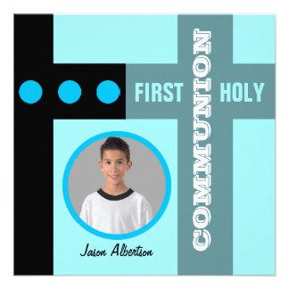 Primer azul 2 de la invitación de la comunión sant