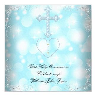 Primer azul blanco de la comunión santa del invitación 13,3 cm x 13,3cm