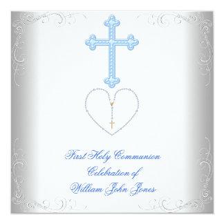 Primer azul blanco de la comunión santa del invitación personalizada
