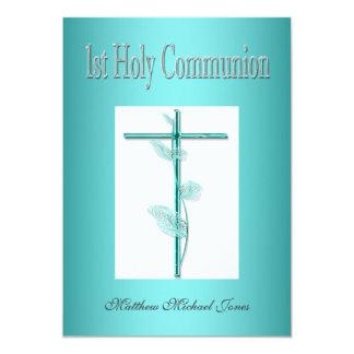 Primer azul de la comunión santa de los muchachos invitación 12,7 x 17,8 cm