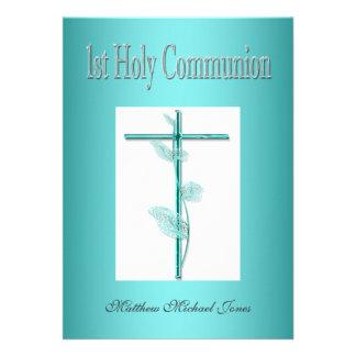 Primer azul de la comunión santa de los muchachos comunicados personalizados