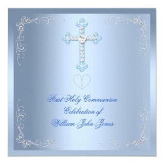 Primer azul de la plata de la comunión santa del invitación 13,3 cm x 13,3cm