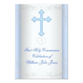 Primer azul de la plata de la comunión santa del invitación 8,9 x 12,7 cm