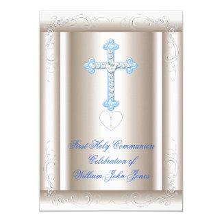 Primer azul de la sepia de la comunión santa del invitación 12,7 x 17,8 cm