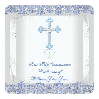 Primer azul de plata blanco de la comunión santa invitación 13,3 cm x 13,3cm