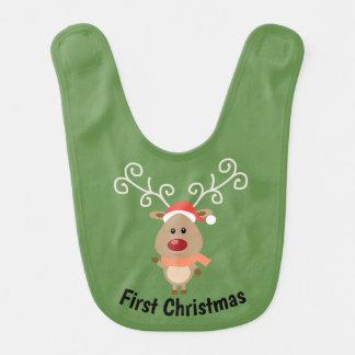 Primer babero del reno del navidad