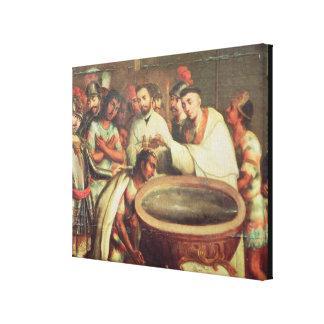 Primer bautismo de los indios de los Dominicans Impresiones En Lona Estiradas