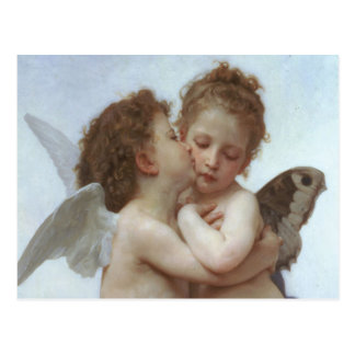 Primer beso - pintura hermosa del ángel postal