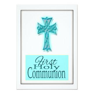 Primer blanco azul de la comunión santa invitación 12,7 x 17,8 cm