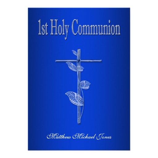 Primer blanco azul de la comunión santa invitacion personalizada