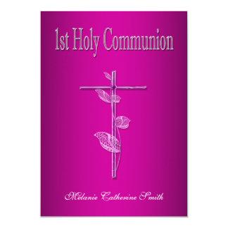 Primer blanco del rosa de la comunión santa invitacion personalizada