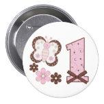 Primer botón del cumpleaños de la mariposa rosada pins