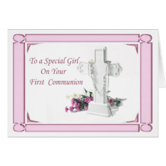 Primer chica de la comunión santa tarjeta