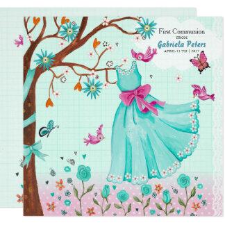 Primer chica de las invitaciones del vestido el | invitación 13,3 cm x 13,3cm