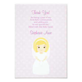Primer chica del Blonde de la comunión santa Invitación 8,9 X 12,7 Cm