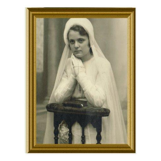 Primer chica Francia de la comunión santa circa 19 Tarjeta Postal
