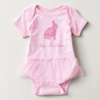 Primer conejito rosado del corazón de Pascua del Body Para Bebé