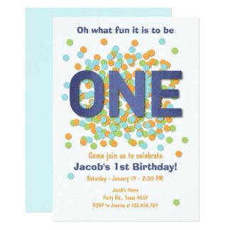 Primer confeti de la invitación del cumpleaños del