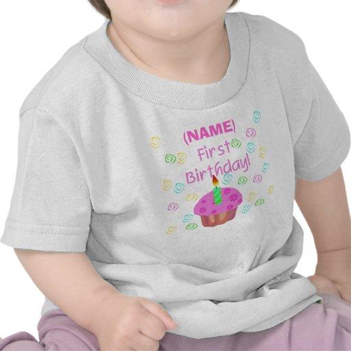Primer cumpleaños de la magdalena rosada modificad camisetas