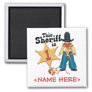 Primer cumpleaños del sheriff imán cuadrado