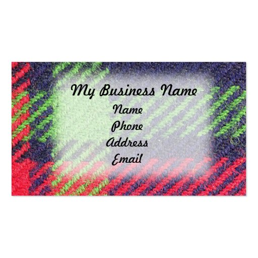 Primer de la tela azul, verde y roja tarjeta personal