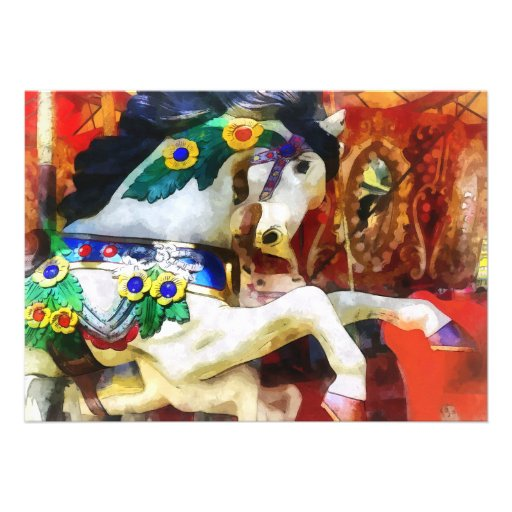 Primer del caballo del carrusel invitación