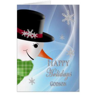 Primer del muñeco de nieve - navidad - ahijado tarjeta de felicitación