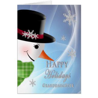 Primer del muñeco de nieve - navidad - nieta tarjeta de felicitación