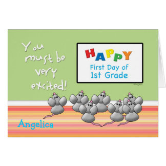 Primer día de 1ros ratones del grado y de tablero tarjeta de felicitación