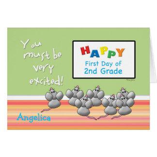 Primer día de 2dos ratones del grado y de tablero tarjeta de felicitación