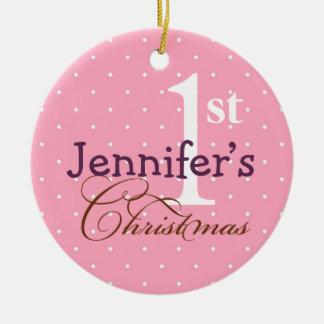 Primer día de fiesta del bebé conocido púrpura ornamento para arbol de navidad