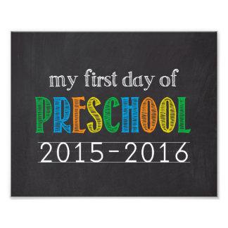 Primer día de impresión preescolar de la foto de