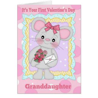 Primer el día de San Valentín de la nieta con poco Tarjeta De Felicitación