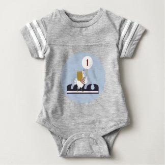 Primer equipo náutico del mono del cumpleaños body para bebé