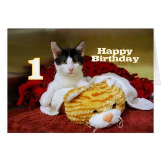 Primer gatito del cumpleaños con el tigre del tarjeta de felicitación