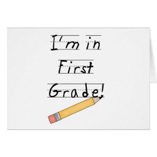 Primer grado alineado del papel y del lápiz tarjeta